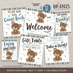 INSTANT DOWNLOAD - Little Bear Baby Shower Table signs Bear cub baby shower printable couples brown blue bear baby shower decor gift favor