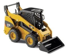 Norscot Cat Skid Steer Loader with work tools scale: Features: Articulated arms and couplers, rolling wheels with authentic tread detail, and Includes interchangeable pallet fork, grabble bucket, and general purpose bucket. Tire Tread, Skid Steer Loader, Work Tools, Diecast, Scale, Fork, Pallet, Purpose, Wheels