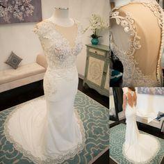 Seen Through Back Whtie Mermaid Lace Inexpensive Romantic Long Wedding Dress, WG633