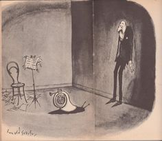 Horn becomes a snail by Ronald Searle. Why doesn't the guy run? It's a snail! Music Jokes, Music Humor, Kinds Of Music, Music Is Life, Mellophone, Ronald Searle, Music Illustration, Illustrations, French Horn