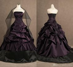 Let charming wedding gown ball gown on DHgate.com get your heart. Besides, ball gown bridal dresses and ball gowns wedding are also winners.  2015 ball gown actual image purple and black strapless embroidery gothic ruffles wedding dresses long party evening gowns with free wrap belong to you and honeywedding can cheer you up.