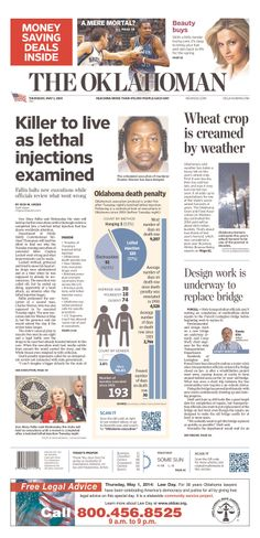 """""""Killer to live as lethal injections examined"""" atop Oklahoma City's Oklahoman"""