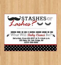 Digital File|Printed|gender reveal|stashes or lashes|baby shower|baby sprinkle|polka dot|red and black|gender reveal invitation|lashes by SisterlydesignsShop on Etsy
