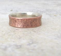 Hammered Copper Ring Mens Wedding Band Copper by SilverSmack