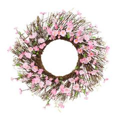 """New at Shopko! 24"""" Cherry Blossom wreath perfect for adding color and texture to your decor."""
