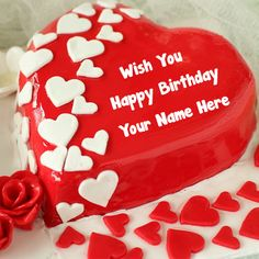 Red Heart Happy Birthday Cake With Name Pic. Name Photo Birthday. Birthday Cake For Wife, Latest Birthday Cake, Happy Birthday Cake Photo, Wish You Happy Birthday, Birthday Wishes Cake, Happy Birthday Wallpaper, Beautiful Birthday Cakes, Birthday Name, Happy Birthday Pictures