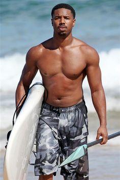 Michael B. Jordan shirtless - Celebrity beach cruising 2016