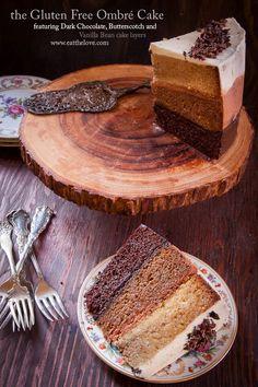 Gluten free dark chocolate, butterscotch and vanilla bean ombré cake from Eat the Love