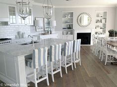 Love the all white kitchen, pop of light color accents to spark the space... Clean and modern.. But, family friendly!