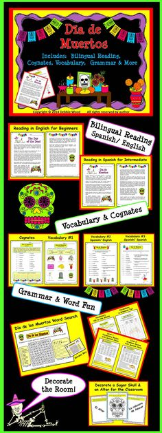 Dia de Muertos: Bilingual Reading, Vocabulary, Cognates, Grammar & More