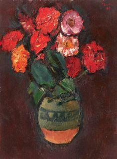 """Crizanteme  [1967]  CORNELIU BABA  1906, Craiova - 1997, Bucureşti  ulei pe pânză lipită pe carton, 42 × 31,5 cm, semnat și datat dreapta sus, cu roșu, """"Baba, (19)67"""""""