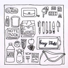 """Project by Yaela Sans from """"Drawing pens: make it simple"""" What In My Bag, Books To Buy, My Bags, Zine, Make It Simple, Objects, Notebook, Bullet Journal, Notes"""