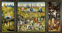 """""""Der Garten der Lüste"""", um 1490/1500, von Hieronymus Bosch in Öl auf Holz gemalt: Das monumentale, mit aufgeklappten Flügeln mehr als drei Meter breite Triptychon ist in Madrid frei aufgestellt. Im Zentrum der rechten Tafel wurzelt der """"Baum-Mann""""."""