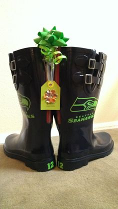 Custom Made-to-Order Rain boots Replica NFL Rainboots Seattle Seahawks 12th Man Rainboots for Tailgating and cheering in style. $45.00, via Etsy. LOVE! I want navy tho not black