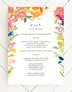 The Colorful Garden Wedding Programs are beautifully designed with a large frame of brightly colored, tropical flowers. Choose from more than 160 color options, over 100 distinctive fonts, and editable text to transform your chosen template into the invitation of your dreams. #cuteweddingprograms #floralweddingprograms #summerweddingprogram Graduation Party Invitations, Floral Wedding Invitations, Tropical Flowers, Colorful Flowers, Garden Wedding, Summer Wedding, Flower Cake Decorations, Wedding Trends, Wedding Ideas