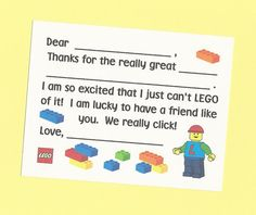 Set of 10 Custom Lego Fill in the Blanks Thank You Notes - Great for Boys Birthday Thanks