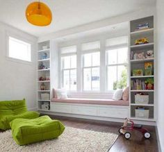 Window benches create a cozy vignette in the room! Also a bay window is a natural spot for a window seat. Window benches provide both extra storage and a place to sit, relax, read a book and look o… Window Seat Storage, Window Seat Ikea, Window Benches, Playroom Design, Playroom Ideas, Playroom Storage, Toy Storage, Storage Shelves, Shelving Units