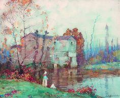 The Mill, Cordes, France   Albert Moulton Foweraker #UnitedKingdom, 1873-1942