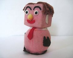 1960s MR SQUARE doll - knit wit, vintage handmade doll with original hangtag - square or block head