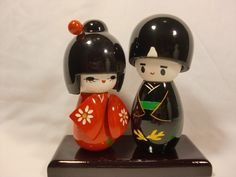 Wedding Couple Red Bride Modern Handmade Japanese Kokeshi Wooden Dolls. Cake toppers idea?