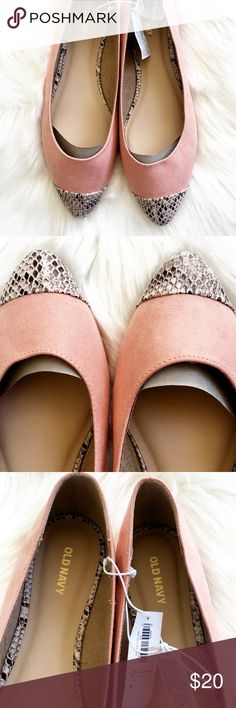 Faux Suede Coral & Snakeskin Pointed Flats Brand New w/ Tags.  Old Navy Brand  Pointed Flats  Faux Suede -pink coral color Gray snakeskin detail on tips and inside.  Size 9.  I bought them for work & never ended up wearing them! Old Navy Shoes Flats & Loafers