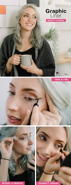 Take the guesswork out of graphic liner with this pro artist tip: Tape the corner of your eye, toward the end of your brow. Then fearlessly apply liquid eyeliner! Get the full tutorial on our Be Beautiful blog.