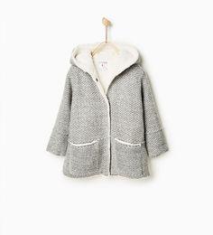 Image 1 of Knit duffle coat with fleece from Zara