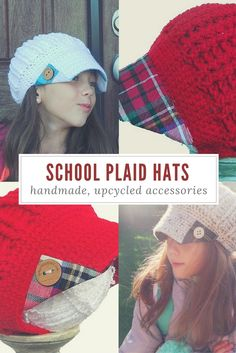 Reversible, upcycled knit hats that are the perfect way to accessorize your school uniform! Buy Plaid, Give Plaid! With each plaid hat sold, $5 will be donated to purchase new uniforms and other supplies for students in need of assistance. . . . . . . kids fashion girls boys school outfits uniforms plaid custom handmade hats knit fashionable outfits for fall childrens accessories Cute Fall Fashion, Kids Winter Fashion, Kids Fashion, Knit Hats, Crochet Hats, School Uniform Accessories, Fashionable Outfits, Plaid Fabric, Loom Knitting