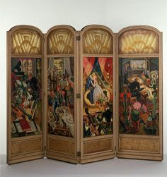 1927-1930 Screen, Wooden frame with oil painted glass panels.  Allinson, Adrian Paul. Victoria and Albert Museum