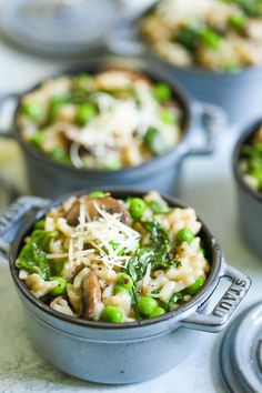 Instant Pot Mushroom Risotto - I promise, this is the EASIEST risotto you will ever make right in your pressure cooker without any stirring or any kind of fuss! The risotto comes out perfectly - amazingly rich and creamy, loaded with mushrooms, spinach, peas and freshly grated Parmesan!
