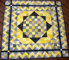 Yellow  Black and Grey Cotton Patchwork Baby by MakeMinePatchwork, $167.50