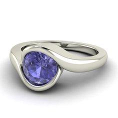 Natural Tanzanite Ring Tanzanite Engagement Ring by Diamondere, $506.00
