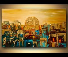 """Original Abstract Painting Urban City Textured Art on Canvas Cityscape Jerusalem GOLD City Painting by OSNAT 40""""x24"""""""