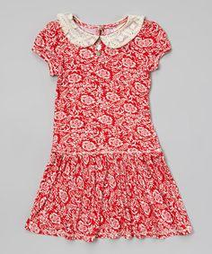 Red Damask Smocked Dress - Toddler #zulily #zulilyfinds
