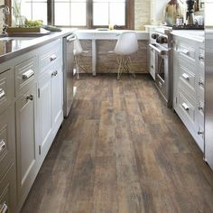 Have a look at this hip unfinished wide plank floor - what an imaginative style and design #unfinishedwideplankfloor Oak Laminate Flooring, Vinyl Plank Flooring, Kitchen Flooring, Wood Planks, Home Depot Flooring, Acacia Flooring, Click Flooring, Dark Flooring