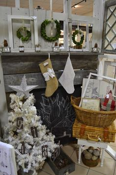Christmas-Booth. I like that stocking with the bow on it