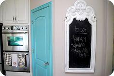 kitchen chalkboard, painted door--combine the two for a door painted with chalkboard paint?