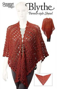 This batwing-shaped shawl features an interesting and beautiful lace pattern worked in the style of traditional Faroese shawls. The batwing shaping makes it stay on the shoulders better and more flatteringly than simple triangle shawls.