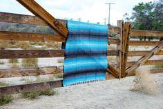 Mexican Falsa Blanket Sky Blue Aqua Marine and Charcoal Grey Vintage Pattern Yoga Beach Blanket