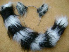 King Julian Ring Tailed Lemur Ears AND Tail SET Faux FUR Lion King Fancy Dress   eBay