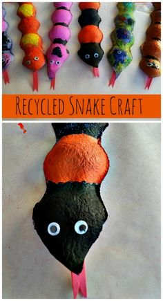Recycled Snake Craft for kids - even younger toddlers can do this from Blog Me Mom. #craftsforkids