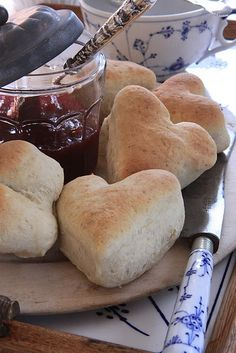 heart-shaped scones + jam.