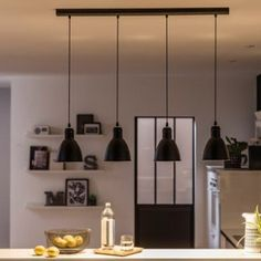 Suspension, style industriel Priddy métal noir 4 x 60 W EGLO - sole love Luminaire Leroy Merlin, Dining Room Lamps, Rustic Kitchen Design, Scandinavian Kitchen, Industrial Scandinavian, Industrial Lamps, Sweet Home, Ceiling Lights, Lighting