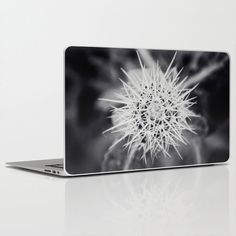 """#Laptop #Skin for MacBook Air/ Pro/ Retina 11"""" 13"""" 15"""" 17"""" and PC Laptops 13""""15""""17"""" - Spiky -  Black and White Flower"""