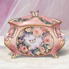 Lena Liu ROSE ELEGANCE Heirloom Porcelain Music Box