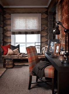 Stockholm Vitt - Interior Design: Chic Ski Lodge Cabin look Ski Lodge Decor, Mountain Cabin Decor, Cabin Chic, Cozy Cabin, Lodge Style, Chalet Style, Cabins And Cottages, Cabin Interiors, Barndominium