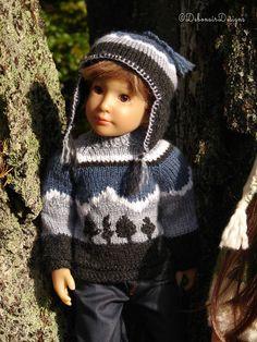 Hand-knit Sweater & Ear-flap Hat for Kidz n Cats boy dolls by Debonair Designs