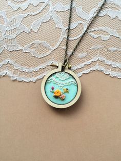 Hand Embroidered Mini Hoop Necklace Featuring Vintage Lace: Mint by PlaidLoveThreads on Etsy
