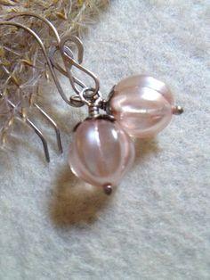 Czech Glass EarringsPink Melon GlassPale Pink by LadonnaStudio, $30.00