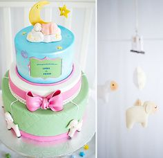 Little lamb lullaby themed baby cake